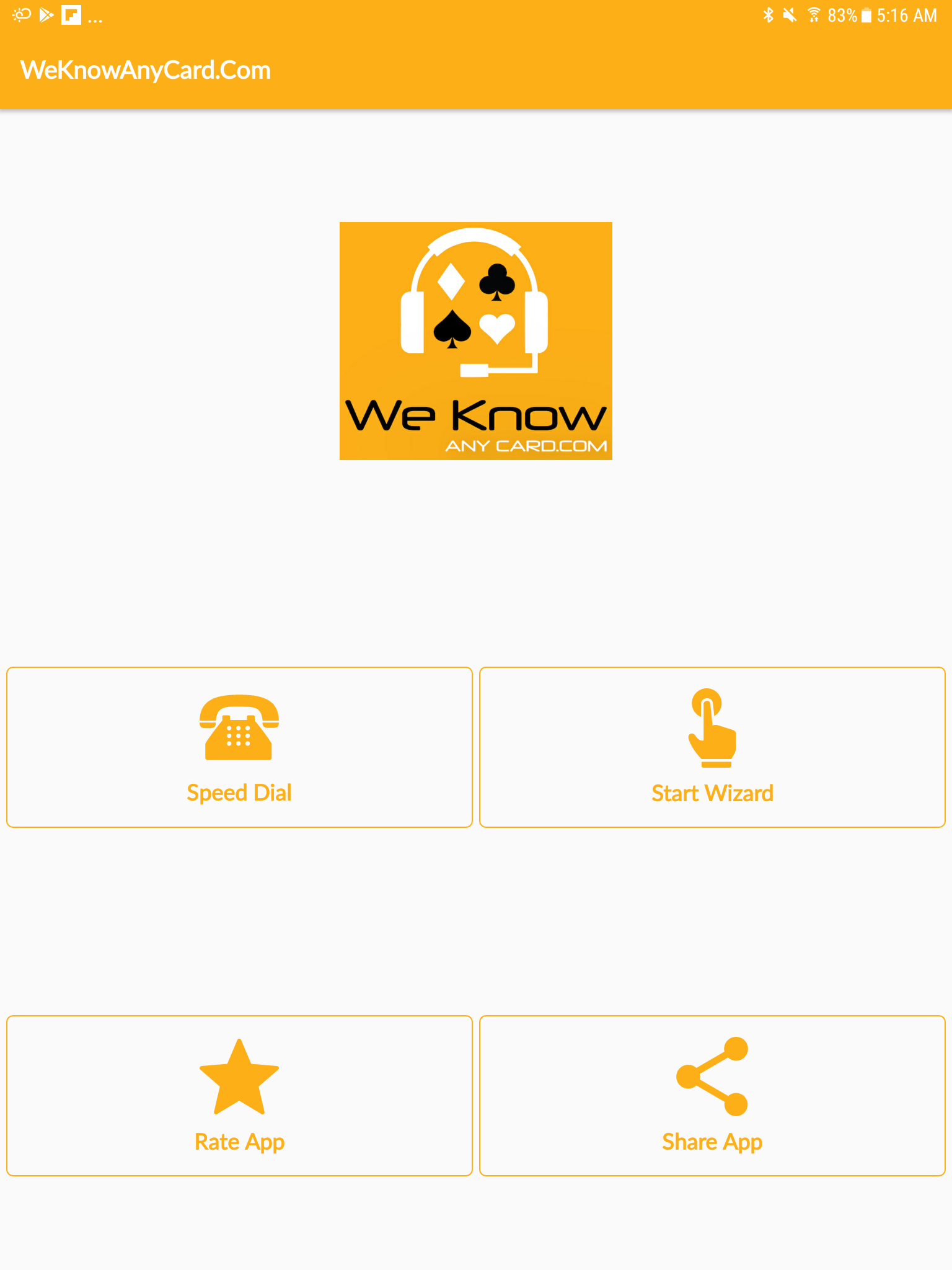 Main Screen | We Know Any Card | Android App Review | GiveMeApps